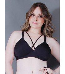 suti㣠em poliamida strappy bra cora: preto: 50 - preto - feminino - dafiti