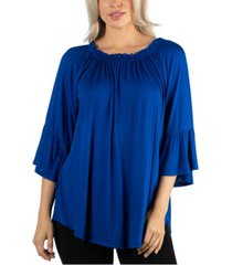 24seven comfort apparel women pleated peasant top round neck and bell sleeves