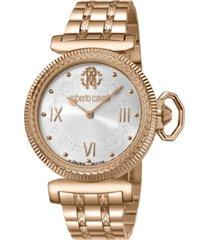 roberto cavalli by franck muller women's swiss quartz rose gold stainless steel bracelet watch, 38mm