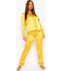 satijnen pyjama set met knopen, mustard
