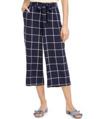 maison jules windowpane check crop capri pants, created for macy's