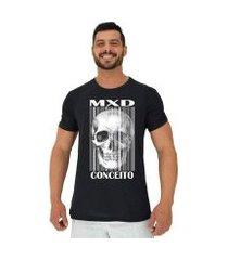 camiseta tradicional manga curta mxd conceito caveira código de barras masculina