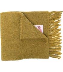 marni logo-patch fringe scarf