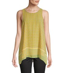 geometric-print trapeze top