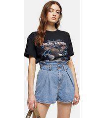high waist paperbag waist denim shorts - mid stone