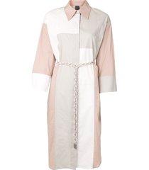 lorena antoniazzi long sleeve straight shirt dress - pink