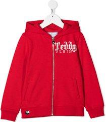 philipp plein stud-embellished logo hoodie - red