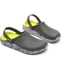 sandalias de playa antideslizantes de tacón plano para mujer-gris