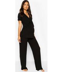 zwangerschap borstvoeding wikkel top en broek pyjama set, zwart