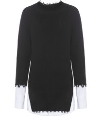blusa feminina tricot detalhe camisa - preto
