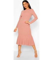 fishtail long sleeve midaxi dress, mauve