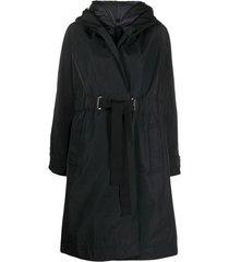 moncler casaco com capuz e cinto - preto