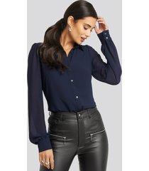afj x na-kd puff sleeve blouse - blue