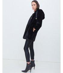 motivi cappotto con cappuccio in simil pelliccia donna nero