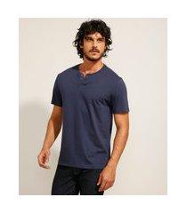 camiseta masculina básica manga curta gola portuguesa azul marinho