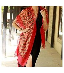 silk shawl, 'flames of desire' (india)