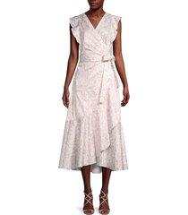 rebecca taylor women's zadie floral wrap dress - snow combo - size 00