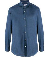 brunello cucinelli spread-collar jersey shirt - blue