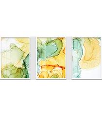 quadro 60x120cm abstrato âmbar amarelo e verde moldura branca sem vidro decorativo interiores - kanui