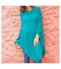 knit poncho, 'teal zigzags' (peru)