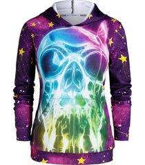 plus size halloween skull 3d print galaxy gothic hoodie