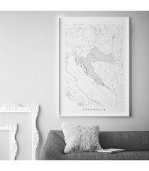 chorwacja - mapa chorwacji - plakat