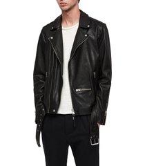 men's allsaints wick slim fit leather biker jacket, size xx-large - black