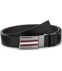 striped plaque leather belt