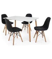 kit mesa jantar eiffel 120x80cm branca + 4 cadeiras charles eames botonê - preta