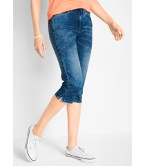 capri jeans in used look met comfortband