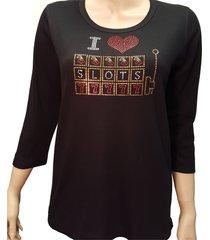 women's slots gambling bling knit shirt rhinestone embellished black