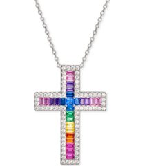 """cubic zirconia rainbow baguette cross 18"""" pendant necklace in sterling silver"""