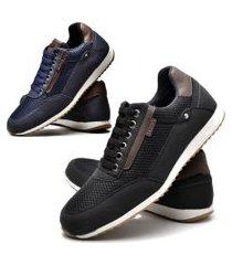 kit 02 pares de sapatênis sapato casual juilli masculino 1100l preto e azul