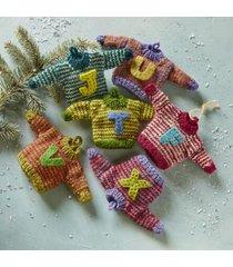 sundance catalog women's striped letter sweater ornaments
