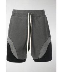 john elliott panelled drawstring-waist track shorts