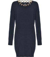 pinko ring-embellished knitted sweater dress - black