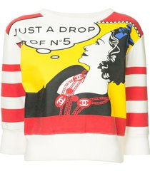 chanel pre-owned 2001 comic print cropped sweatshirt - multicolour