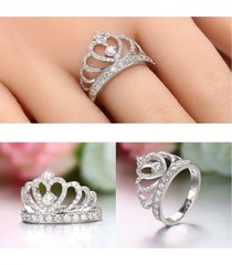 0.75 ct diamond real 925 silver 14k gold princess tiara engagement crown ring