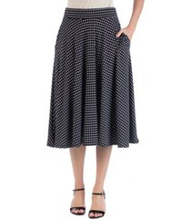 24seven comfort apparel waistband polka dot a-line midi skirt with pockets