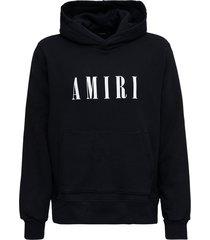 amiri black cotton hoodie with logo print