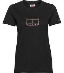 tjw metallic outline flag tee t-shirts & tops short-sleeved svart tommy jeans