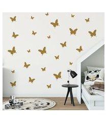 adesivo de parede borboletas douradas 25un cobre 1,5m²