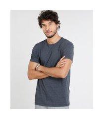 camiseta masculina manga curta básica com elastano gola careca cinza mescla escuro