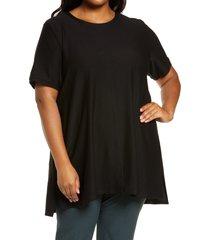 plus size women's eileen fisher short sleevetunic top, size 1x - black