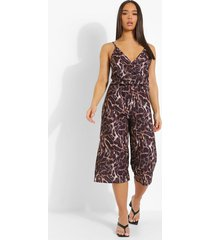 luipaardprint culotte jumpsuit met laag decolleté, brown