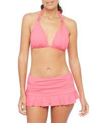women's la blanca island blanca halter bikini top, size 14 - pink