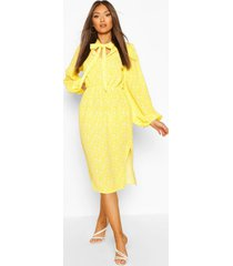 pussybow floral midi skater dress, yellow