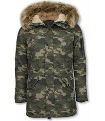 lange winterjas – camouflage