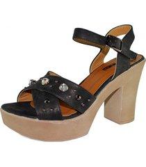 sandalia con piedras negra takones