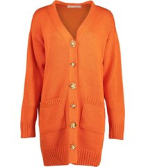 flower button persimmon long sleeve cardigan